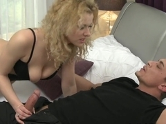 Love Creampie Mature horny mistress in stockings fucks