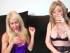 Horny pornstars Nina Hartley and Erica Lauren in crazy facial, milf porn clip
