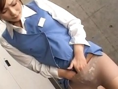 Natsu Ando Asian chick gets bukkake in the office