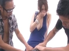 Ameri Ichinose enjoys two cocks in threesome show
