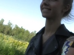 Anjelica in outdoor amateur sex scene with a gal sucking dick
