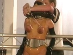 Tied up slave slut is dominated hard by master