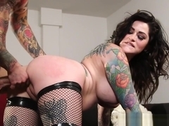 Busty Tattooed Babe In Stockings Fucked Hard