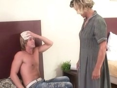 Cleaning woman acquires her slit filled with hard meat