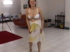 Busty lapdancer is fingered by horny camera guy